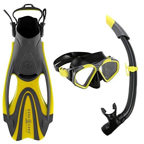 Aqua Lung Schnorchelset Hawkeye für Erwachsene | Maske + Schnorchel + Flossen | Größe 44-48 | gelb-grau