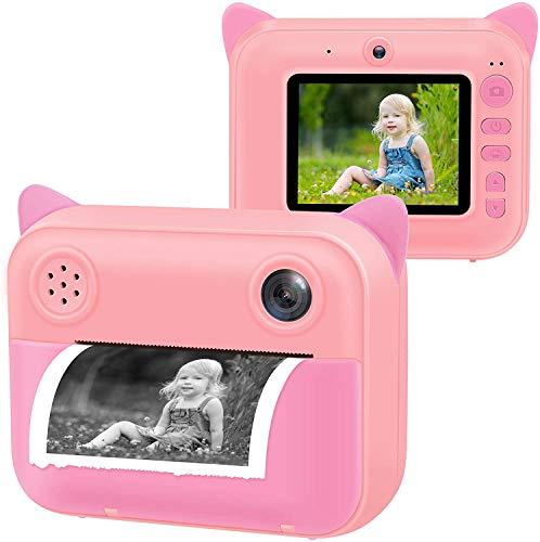 Beinhome Sofortdruckkamera für Kinder, Kinder Digital Sofortbildkamera für Geburtstagsgeschenk, 1080P 2,4 '' LCD-Bildschirm, 16 SD-Karte, tragbare kreative Druckkamera Mädchen Jungen Spielzeug(Rosa)