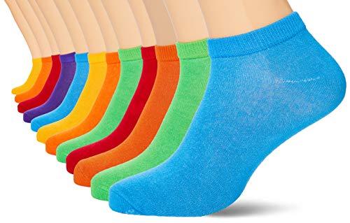 FM London Bamboo Trainer Calcetines, Multicolor (Bright 10), Talla Única (talla del fabricante: UK 9-11 EU 43-46) (Pack de 12) para Hombre