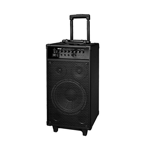 "Wireless Portable PA Speaker System - 800W Bluetooth Compatible Rechargeable Battery Powered Outdoor Sound Speaker Microphone Set w/ 30-Pin iPod dock, Wheels - 1/4"" to AUX RCA Cable - Pyle PWMA1080IBT"