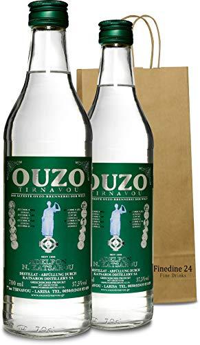Premium Ouzo Katsaros green | Anis likör | aus Griechenland | Anis schnaps | mild | Geschenk | USO | UZO | 2x 700ml Glas Flasche (2x 0,7 l)