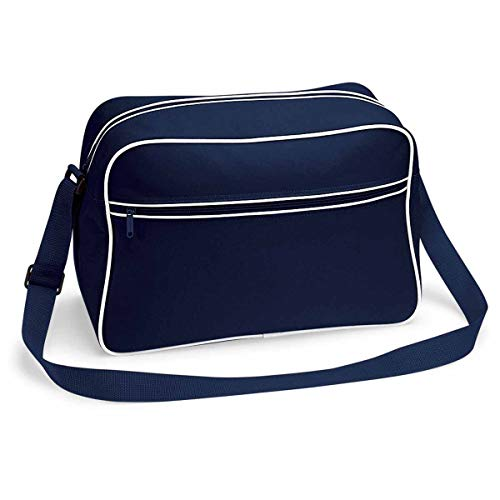 BagBase Retro Shoulder Bag, French Navy / White, ca. 40 x 28 x 18 cm