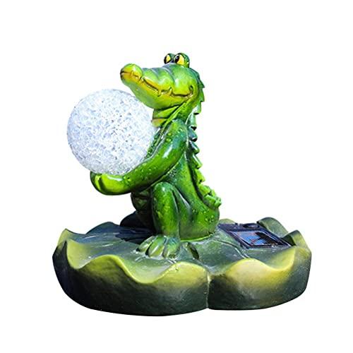WINBST Estatuas solares para jardín, rana, piscina, flotante, simulación de estanque de peces, suspensión de animales, estanque, patio al aire libre, resina artesanal