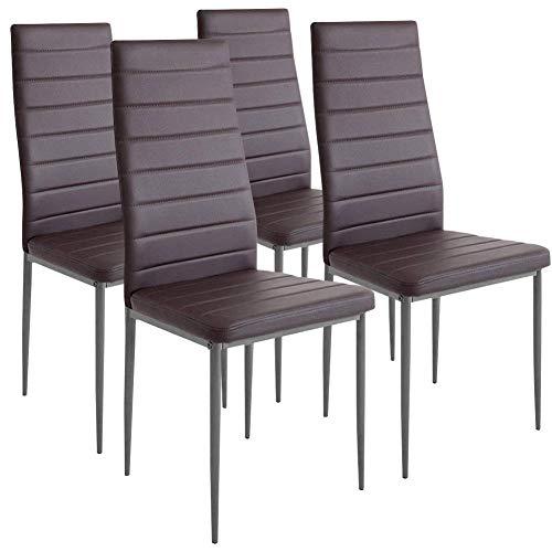 BAKAJI Set 4 Sedie Moderne Sala da Pranzo Salotto Cucina Seduta Imbottita Ecopelle 4X Sedie in Promo...
