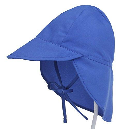 De feuilles Baby Sonnenhut Jungen Mädchen mit Nackenschutz Schirmmütze Outdoor Reise UV-Schutz Sommermütze mit Kinnriemen Einfärbig/Bedrucken L blau