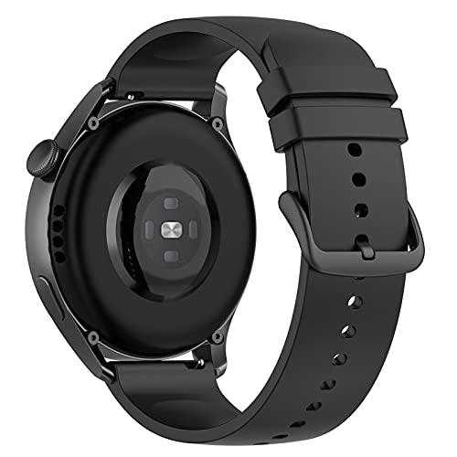 LOKEKE Correa de repuesto para Huawei Watch 3 Pro – Correa de repuesto de silicona de 22 mm para Huawei Watch 3 Pro/Watch 3/Huawei Watch GT2 Pro (silicona negra)