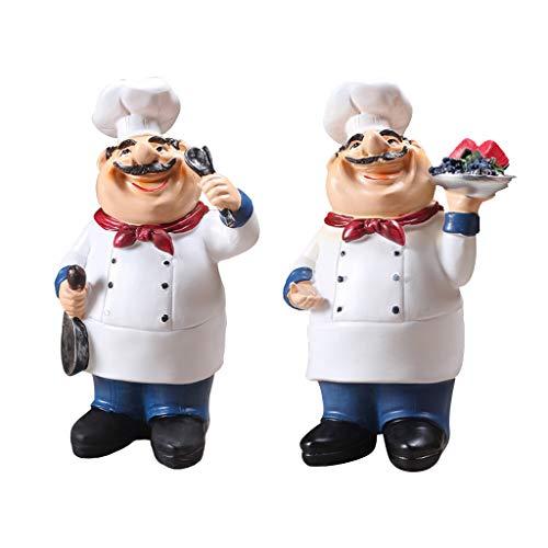 HomeDecTime 2er Set Chefkoch Figur Harz Küchenchef Statue Miniatur Chef Resin Figur Kochen Koch Home Restaurant Cafe Tischdekoration Sammlerstück Geschenke