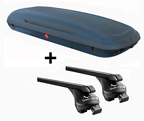 VDP-CA480 Dachbox 480 Liter Carbon Look abschließbar + Relingträger Quick kompatibel mit Nissan Qashqai ab 2014 Reling