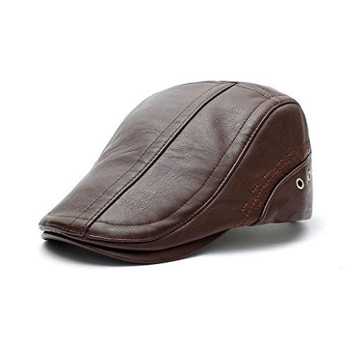 wopiaol Herbst und Winter Outdoor-Hüte Neue Herren Baskenmütze mittleren Alters und ältere Sonnenschutz warme lässige PU-Lederkappe
