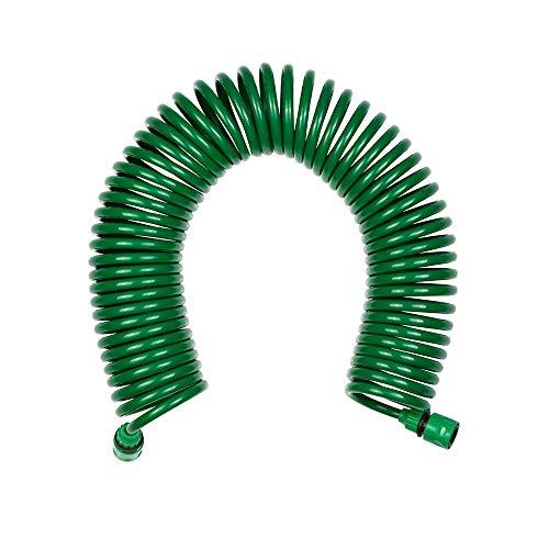Grafner Spiral-Gartenschlauch 15 Meter, mit 8-Fach Soft-Multifunktionsbrause, hochwertige Steckverbinder, automatische Aufwicklung, grün Spiral Gartenschlauch spiralförmig
