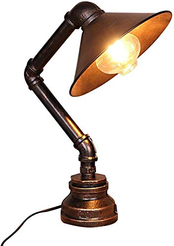 Lámpara de mesa retro lámpara de mesa hierro de acero mesa de tubeta noche luz de noche lámpara de mesa industrial steampunk retro e27 soporte