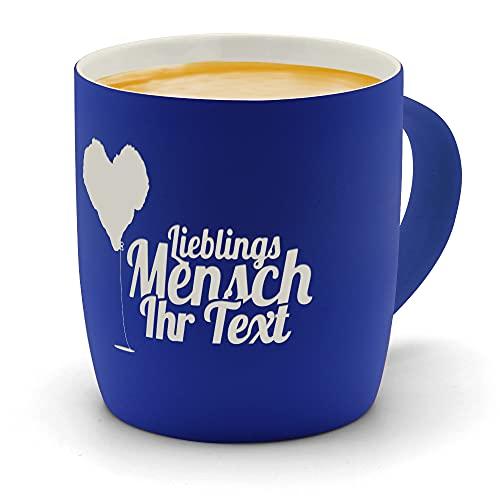 printplanet - Kaffeebecher mit eigenem Text graviert - SoftTouch Tasse mit Wunschtext - Matt-gummierte Oberfläche - Farbe Blau - Motiv: Lieblingsmensch
