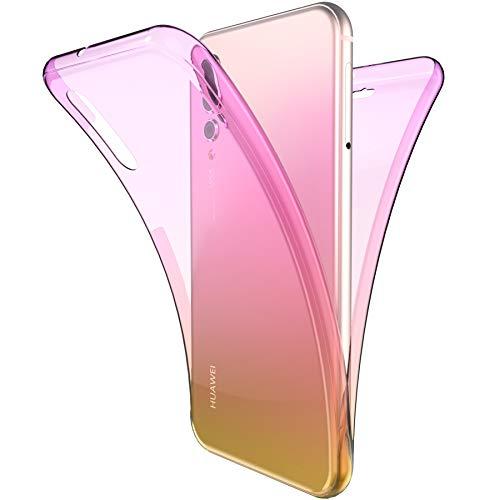 Coque Huawei P20 Pro Intégral 360 Degres avant + arrière Full Body Protection Couleur de dégradé Transparente Silicone Gel TPU Souple Housse Etui Case Coque pour Huawei P20 Pro,Violet Jaune