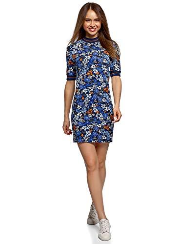 oodji Ultra Damen Kleid mit Stehkragen, Blau, DE 44 / EU 46 / XXL