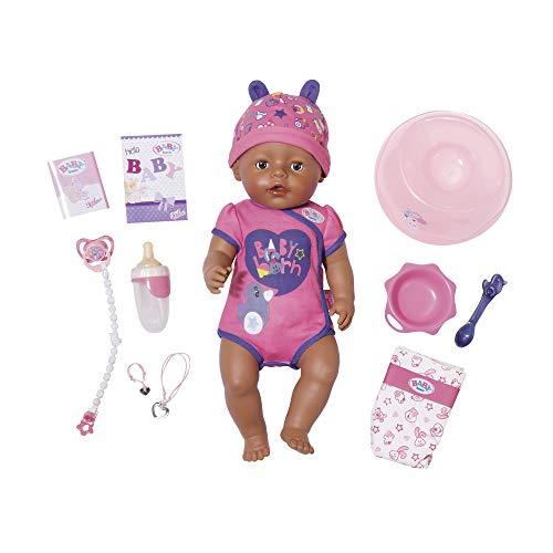 Zapf Creation 824382 BABY born Soft Touch Girl Brown Eyes Puppe mit lebensechten Funktionen und viel Zubehör, bewegliche Gelenke und weiche Soft-Touch-Oberfläche, 43 cm