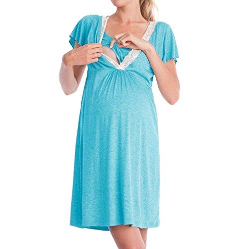 WEIMEITE Robe de maternité Nursery Nightdress pour l'allaitement Chemise de Nuit vêtements de Nuit Nouvelle arrivée Light Blue XL