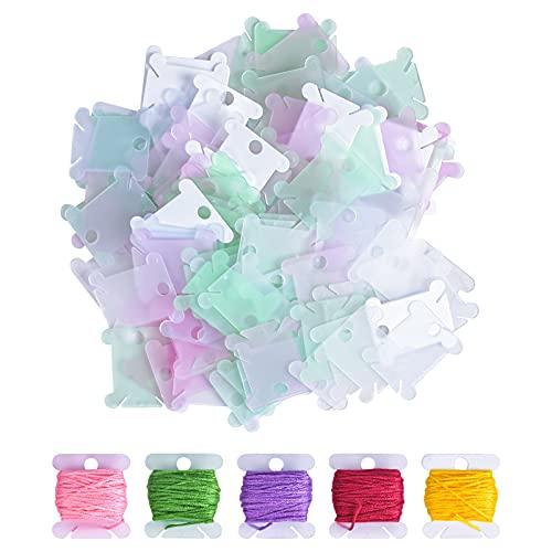 Bobina de Hilo de Plástico 120 piezas Tarjetas de Hilo de Bordar Enrollador de Hilo de Plástico Organizador de Hilo de Bobina para Hilo de Punto de Cruz DIY de Costura de Almacenamiento Color al Azar