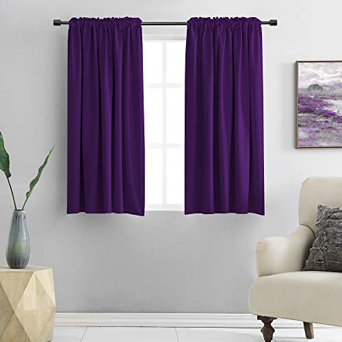 DONREN Royal Purple Blackout Curtain Panels for Living Room - Thermal Insulated Room Darkening Rod Pocket Drapes for Window (42 x 45 Inch Length,2 Panels)