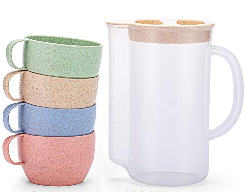 UDOIT Unbreakable Wheat Straw Kettle Set with 4 Multicolor Cups for Kids Children Toddler Adult, Lightweight Natural Reusable Drinking Mugs for Coffee, Tea, Cool Water, Milk, Juice, BPA free