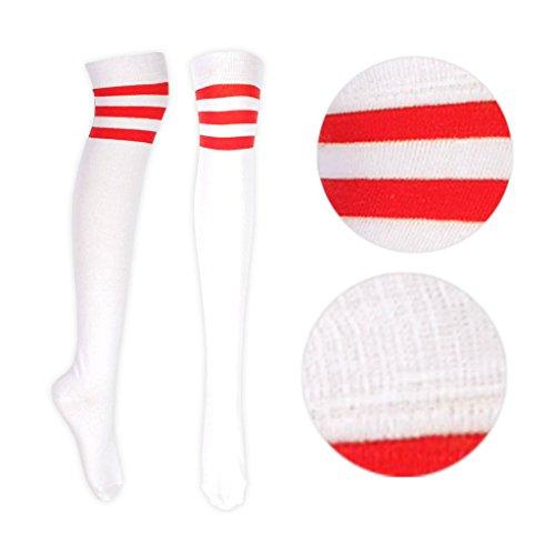 adam & eesa Damen Frauen über Dem Knie Färbten 3 Gestreifte Socken Schenkel Hohe Strümpfe (Rot)