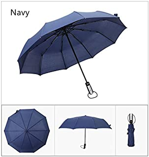 Windproof Travel Auto Umbrella 10 Ribs Compact Big Business Full-Automatic Parasol Man Folding Umbrella Male (Color : Navy)