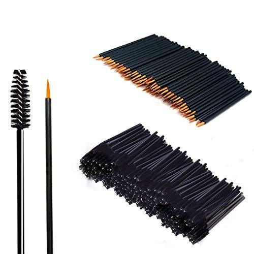 200 Stück Make-up Tool-Kits Einweg Nylon Eyeliner-Pinsel Stick Schwarz Einweg WimpernbürsteTägliche Make-Up Pinsel Sets