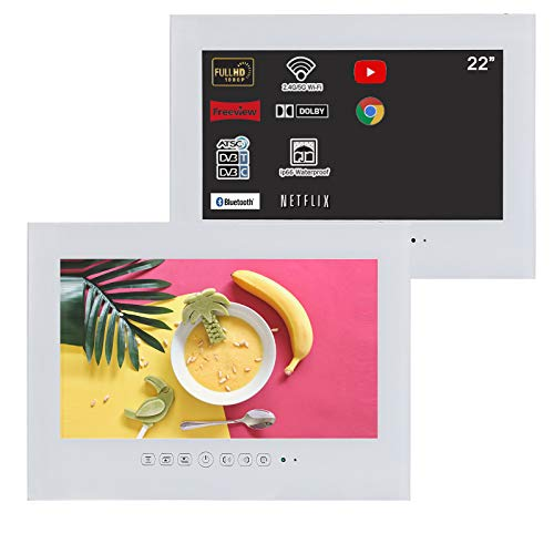 Soulaca 22 inches Smart White Bathroom Smart LED TV Waterproof TV for Shower with WiFi, Bluetooth, Android 10.0