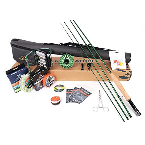 M MAXIMUMCATCH Maxcatch Premier Fly Fishing Rod and Reel Combo Complete 9' Fishing Outfit (Premier Rod+Green AVID Reel, 5 wt -9' Half-Handle Rod,5/6 Reel)