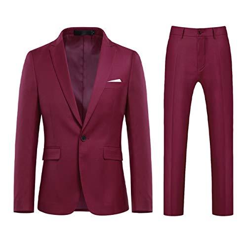 Allthemen Traje de hombre de 2 piezas, monocolor, con un botón y abertura en la parte trasera (Blazer + Pantalones) Vino rojo S