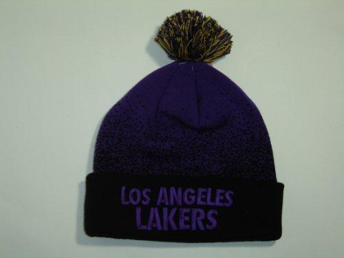 Mitchell & Ness NBA Los Angeles Lakers Purple Splatter Cuffed Knit Beanie with Pom NewEra