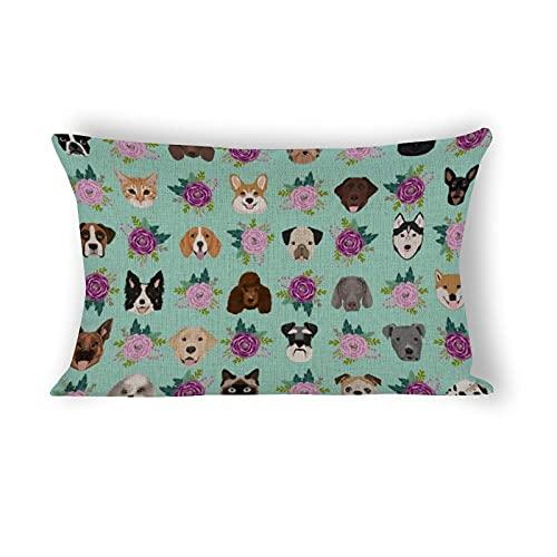 Funda de almohada de 50,8 x 76,2 cm, ideal para perros y gatos, ideal para amantes de los animales, regalos de razas de perros, gatos, señoras de algodón, ropa de cama y decoración del hogar