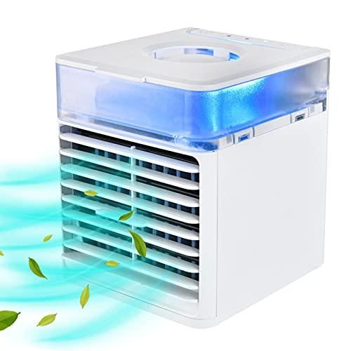 YMXLXL Mini Refrigerador de Aire USB, Aire Acondicionado Portátil de 500ml, con 3 Velocidades Ajustables 7 Luces LED, para Familia, Dormitorio, Sala de Estudio 16X15.5X14.5cm (Blanco)