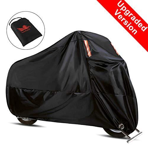 WinPower Funda Moto Anti-calorica Lluvia Universal Exterior Interior 210D Premium Impermeable Resistente al Calor Reforzada Anti-UV Oxford Tela XXL 265cm Negra