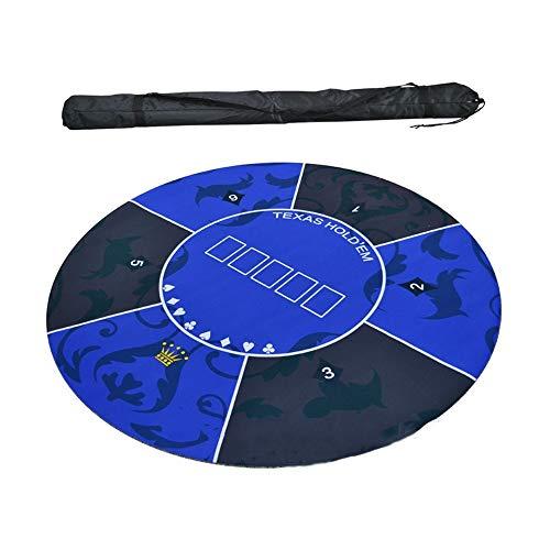 Zhengowen Spieltischzubehör Runde Gummischaum-Poker Mats Texas Hold 'em Gummimatte mit Umhängetasche 180x90cm Blau Grün Poker-Layout (Farbe : Blau, Size : 120x120cm)