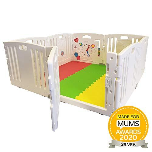 Tutte le stelle nel box del bambino | 8 pezzi compreso il pannello attività divertente | Stuoie del pavimento componibile e brillante color giocare a palla