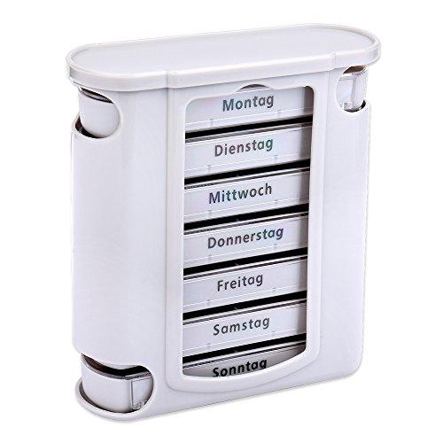 Schramm® Tablettenbox grau mit grauen Schiebern 7 Tage Pillen Tabletten Box Schachtel Tablettendose Pillendose Pillenbox Tablettenboxen Pillendosen Pillen Dose Wochendosierer