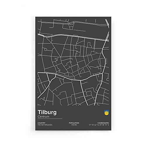 Stadskaart Tilburg Centrum II - Walljar - Muurdecoratie - Schilderij - Plexiglas