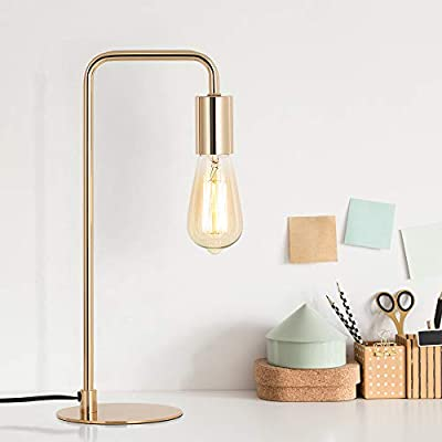 Edison Table Lamp, Industrial Desk Lamps, Small Gold Metal Lamp Suit for Bedside Dressers Coffee Table Study Desk in Bedroom, Guest Room Office