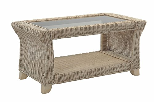Desser Clifton Coffee Table with Storage Shelf – Glass Top Table with Natural Wicker Rattan Cane Frame – Luxury Indoor Conservatory or Living Room Furniture - H47cm x W94cm x D56cm