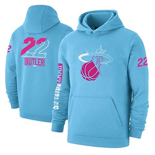 ZSPSHOP Sudadera de baloncesto NBA Miami Heat No.22 Butler para hombre con capucha engrosada, jersey suelto de baloncesto (color: azul, tamaño: grande)