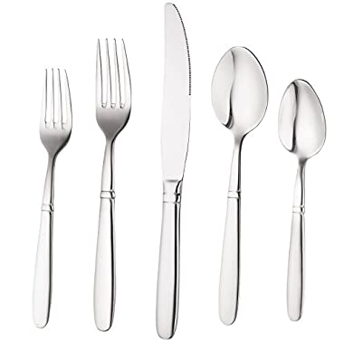 Bruntmor, CRUX Silverware Royal 45 Piece Flatware Cutlery Set, 18/10 Stainless Steel, Service for 8 100% Rust Proof