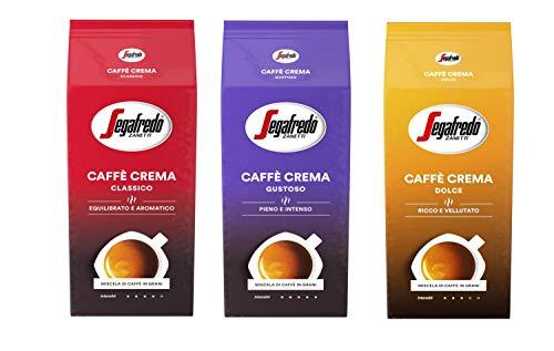 Segafredo Caffé Crema alle Sorten - 1x Gustoso 1x Classico 1x Dolce je 1000g - geröstete Bohnen Probierpaket