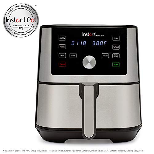 Instant Vortex Plus 6 Quart 6-in-1 Multi-Use Air Fryer with Roast, Broil, Bake, Reheat & Dehydrate