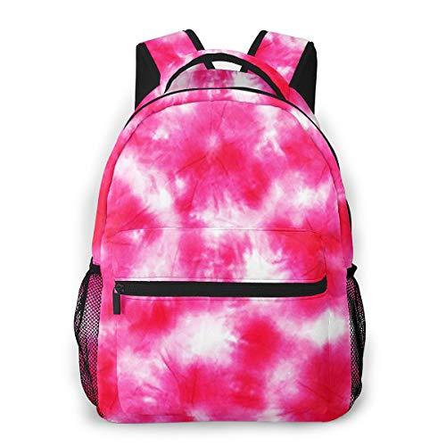Mochila Tipo Casual Mochila Escolares Mochilas Estilo Impermeable para Viaje De Ordenador Portátil hasta 14 Pulgadas Pink Tie Dye Pattern