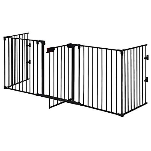 COSTWAY Barrera de Seguridad para Niños Perro Rejilla de Protección Plegable para Chimenea Escalera Puerta (Negro)