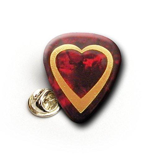 Heart oro Printed Guitar Pick Pin Badge Lapel Tie TAC Red Pearl