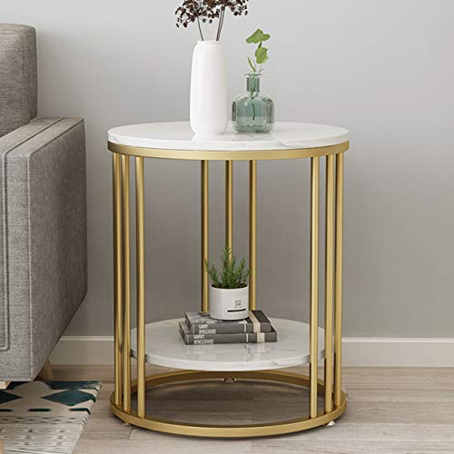 KAISIMYS Coffee Table, Side Table, Marble Effect Table, Decorative Table With Two-layer Partition, Gold Metal Legs and Marble Effect, Suitable for Drinkable Food, Coffee, Coffee Table