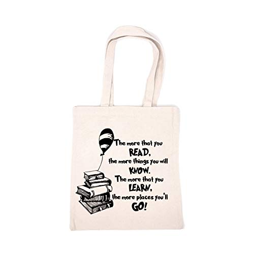 Chillake Inspirational Quote Natural Cotton Canvas 12 Oz Reusable Hand Made Tote Bag - Cute Dr Seuss Theme Tote Bag School Bag Gifts for Kids Boys Girls