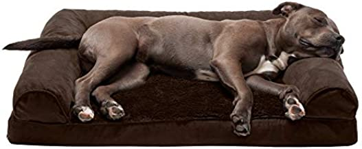 Furhaven Pet Dog Bed - Orthopedic Ultra Plush Faux Fur and Suede Traditional Sofa-Style Living Room Couch Pet Bed with Removable Cover for Dogs and Cats, Espresso, Large