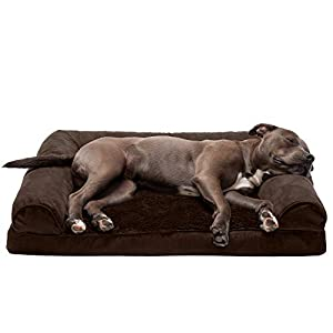 Furhaven Pet Dog Bed – Orthopedic Ultra Plush Faux Fur and Suede Traditional Sofa-Style Living Room Couch Pet Bed with Removable Cover for Dogs and Cats, Espresso, Large